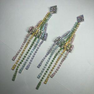 Jewelry - Pastel spring rainbow painted rhinestone earrings